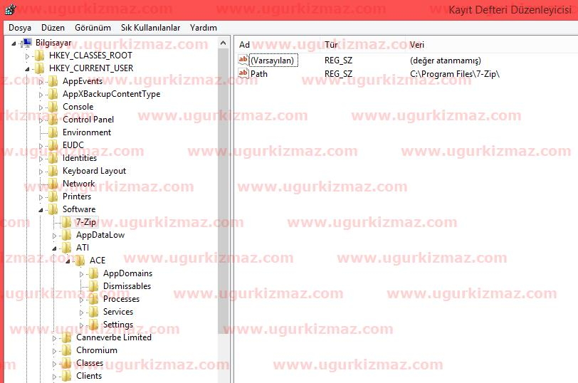 hierarchical database örneği registry regedit